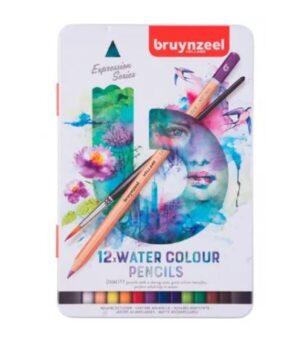 Lápices Acuarelables 12 Colores + Pincel Caja Metálica