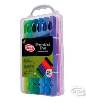 Marcadores Finos Doble Punta 12u, 24 colores